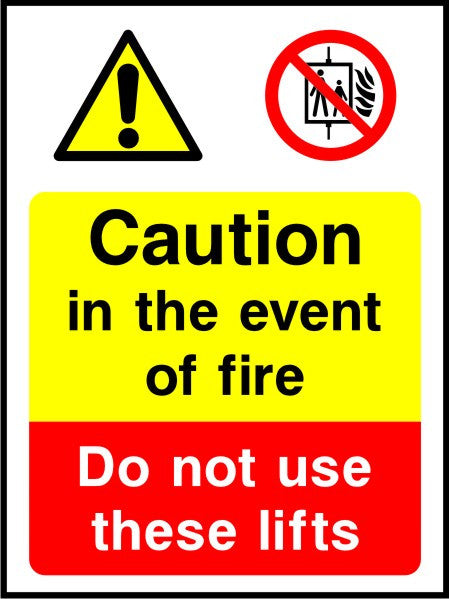 Caution in the event of fire Do not use these lifts sign