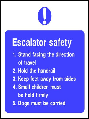 Escalator safety notice sign