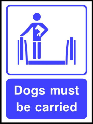 Dogs must be carried sign