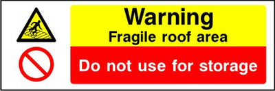 Warning Fragile roof area Do not use for storage sign