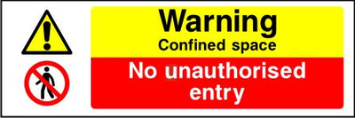 Warning Confined space No unauthorised entry sign