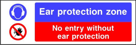 Ear protection zone No entry without ear protection sign