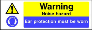 Warning Noise hazard Ear protection must be worn sign