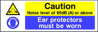 Caution Noise level of 90dB (A) or above Ear protectors must be worn sign