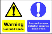 Warning confined space Approved PPE must be worn sign