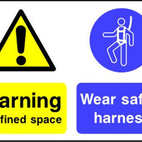 Warning confined space Wear safety harness sign