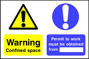 Warning confined space Permit to work must be obtained from sign