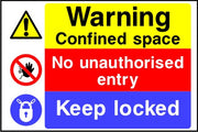Warning Confined space No unauthorised entry Keep locked sign