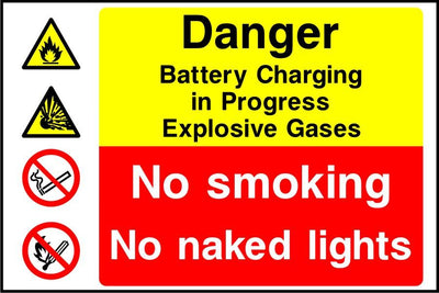 Danger Battery Charging in Progress Explosive Gases No smoking sign