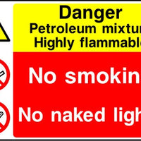 Danger Petroleum mixture No smoking No naked lights sign