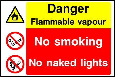 Danger Flammable vapour No smoking No naked lights sign