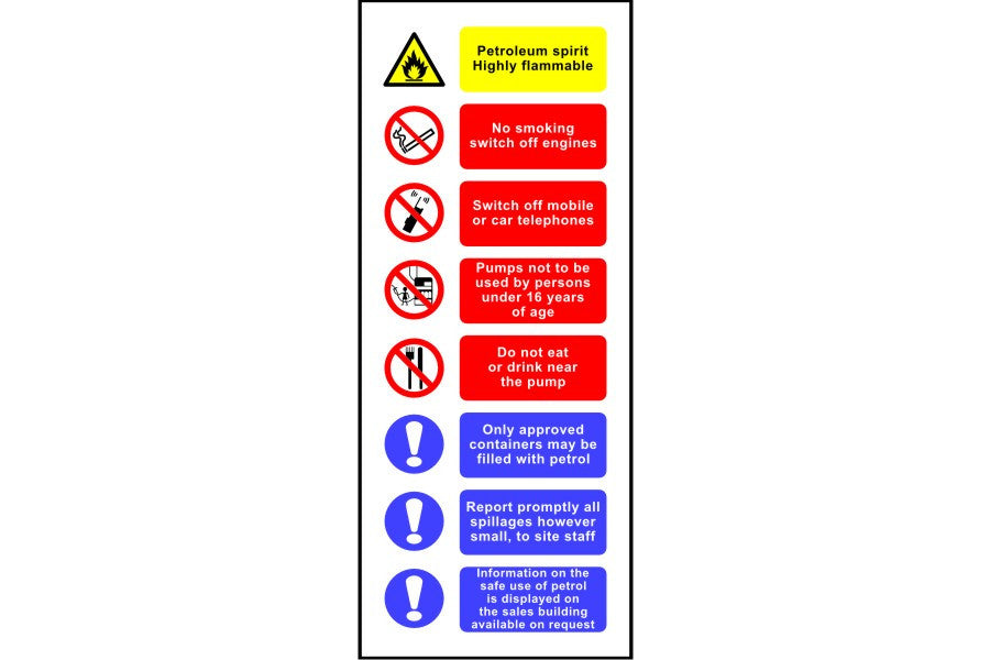 Petrol Pump safety sign