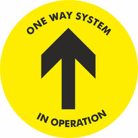 Yellow One way system in operation Floor Sign