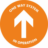 Orange One way system in operation Floor Sign