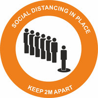 Orange Social Distancing in place Keep 2m apart Floor Sign