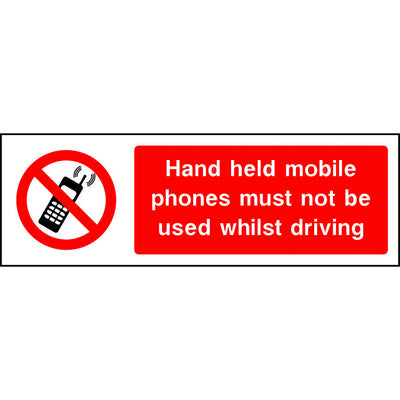 Hand held mobile phones must not be used whilst driving sign