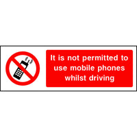 It is not permitted to use mobile phones whilst driving sign