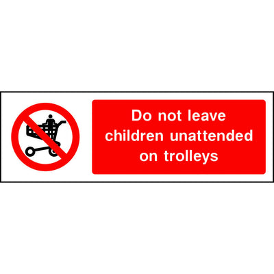 Do not leave children unattended on trolleys sign
