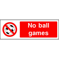 No ball games safety sign