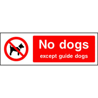 No dogs except guide dogs park safety sign