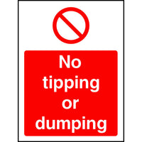 No tipping or dumping safety sign
