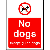 No dogs except guide dogs park sign