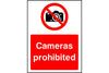 Cameras prohibited safety sign