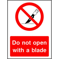 Do not open with a blade safety sign