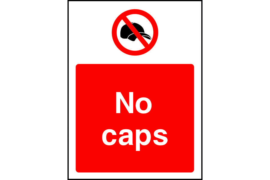 No caps prohibition safety sign