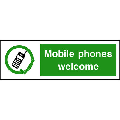 Mobile phones welcome sign