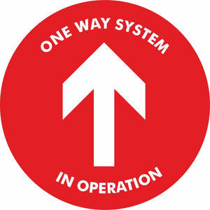 Red One way system in operation Floor Sign