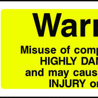 Warning Misuse of Compressed Air Safety Sign