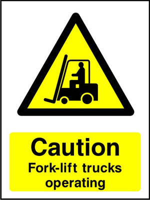 Caution Forklift Trucks Operating safety sign
