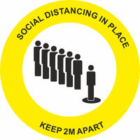 Yellow Social Distancing in place Keep 2m apart Floor Sign