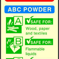 ABC Powder Photoluminescent Fire Extinguisher sign