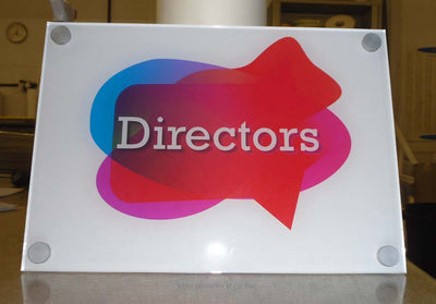 Acrylic sign with stand off fixings