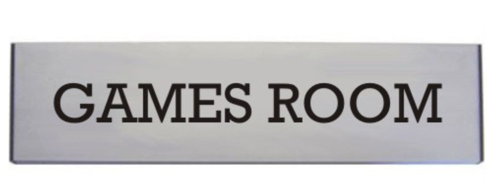Engraved Aluminium Games Room Door Sign