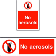 No aerosols prohibition safety sign