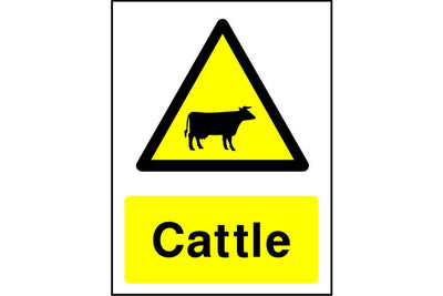 Cattle caution safety sign