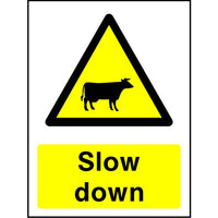 Cattle Slow Down safety sign