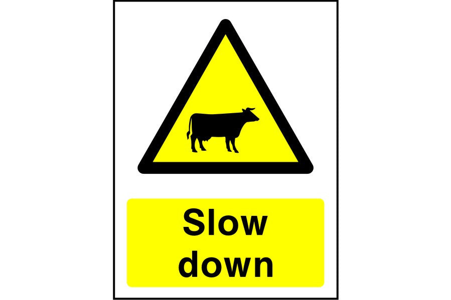 Cattle Slow Down sign