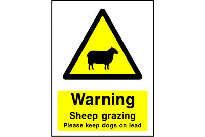 Warning Sheep grazing Please keep dogs on lead sign