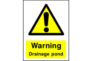 Warning Drainage pond sign