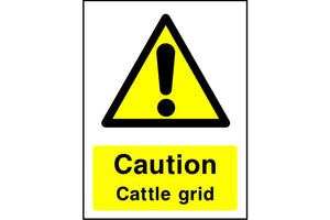 Caution Cattle grid safety sign