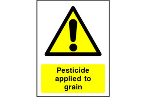 Pesticide applied to grain sign