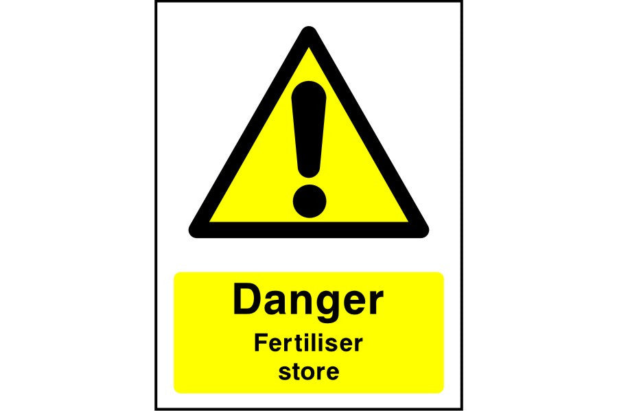 Danger Fertiliser store sign