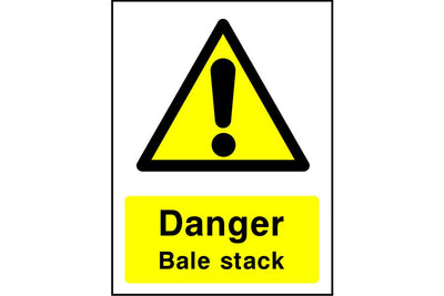 Danger Bale stack sign