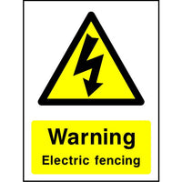 Warning Electric fencing sign