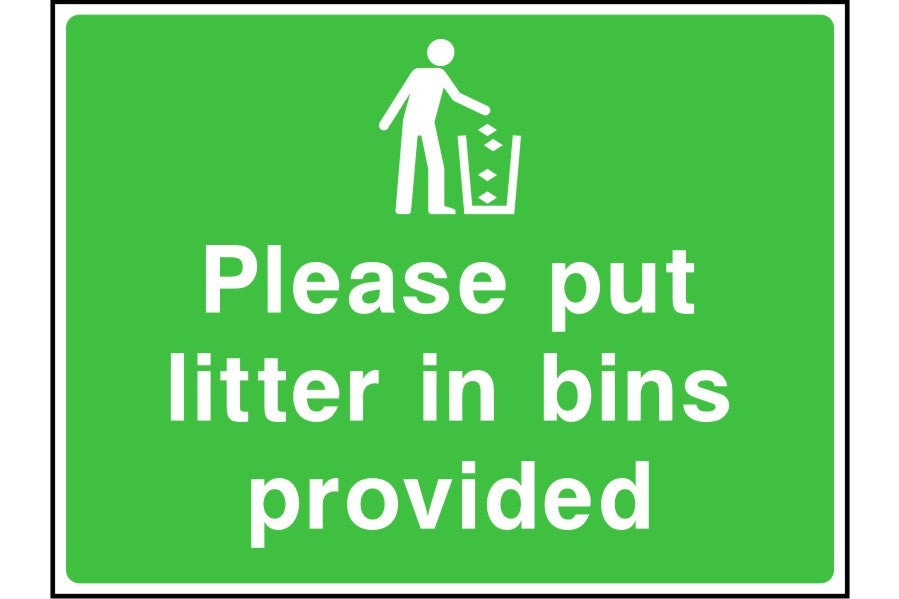 Please put litter in bins provided sign