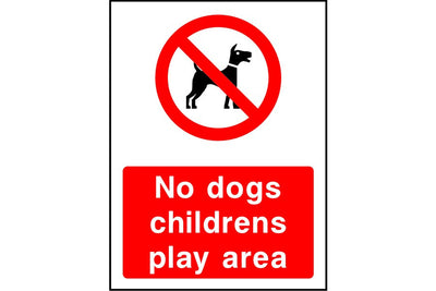 No dogs childrens play area sign